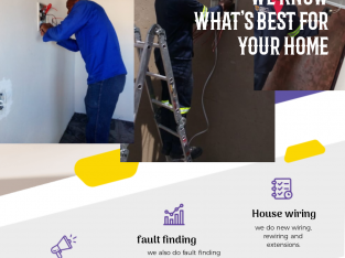 Electrical services from installation, wiring, fault finding etc